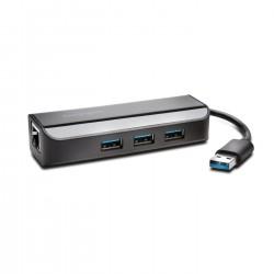 Kensington UA3000E USB 3.0 Ethernet Adapter & 3-Port Hub